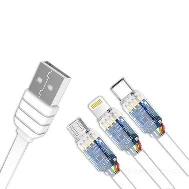 Konfulon Konfulon iPhone Lightning Micro, Usb Type-c 30Cm Kısa Şarj Kablosu Renkli
